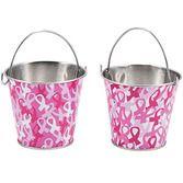 Favors & Prizes Pink Ribbon Metal Pails Image