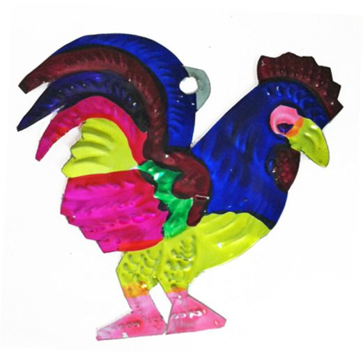Cinco de Mayo Decorations Rooster Tin Ornament Image