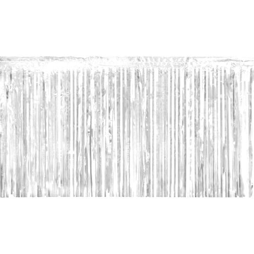 Wedding Decorations White Metallic Fringe Drape Image