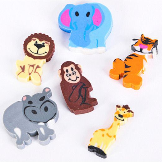 Birthday Party Favors & Prizes Mini Zoo Animal Erasers Image