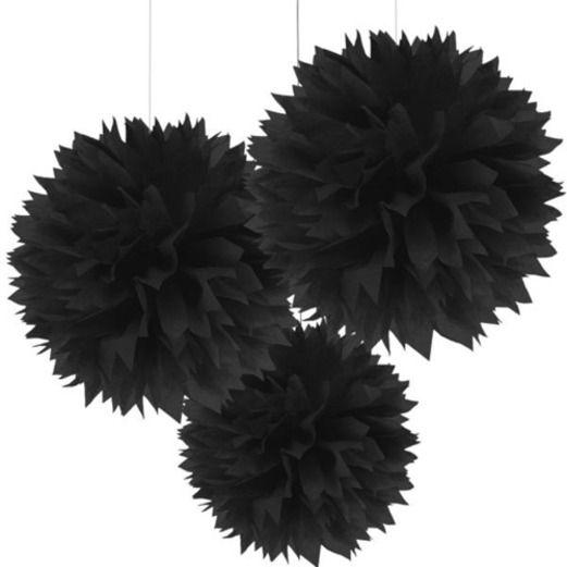 Halloween Decorations Black Fluffy Tissue Balls Image