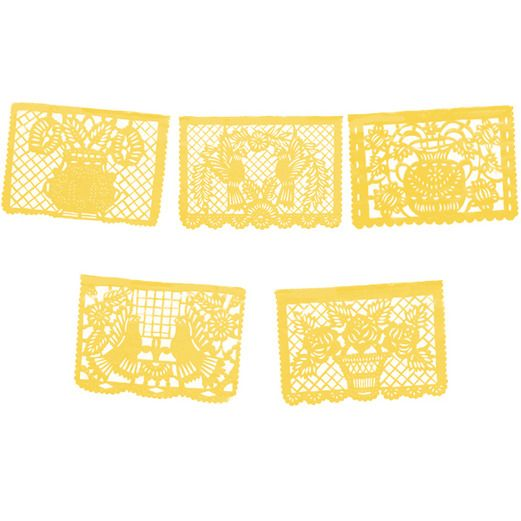 Cinco de Mayo Decorations Large Yellow Papel Picado Image