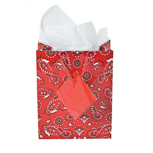Western Gift Bags & Paper Red Bandana Gift Bags Image
