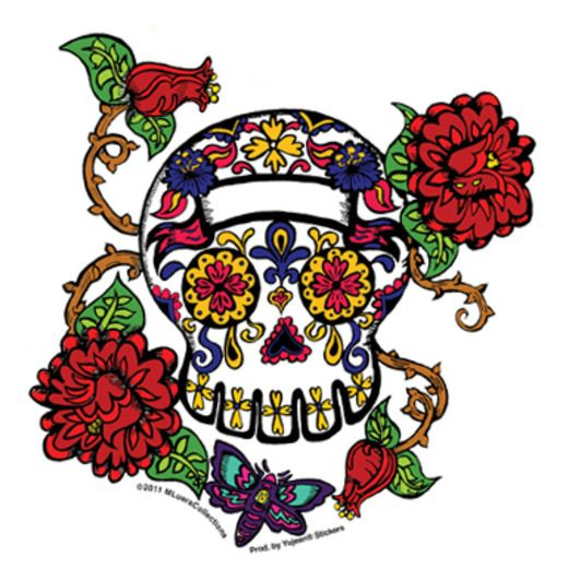 Day of the Dead Favors & Prizes Thorned Roses Sugar Skull Sticker Image