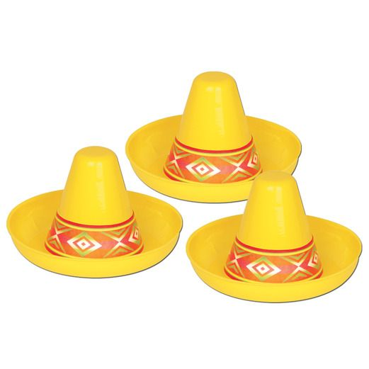 Cinco de Mayo Decorations Miniature Yellow Plastic Sombrero Image