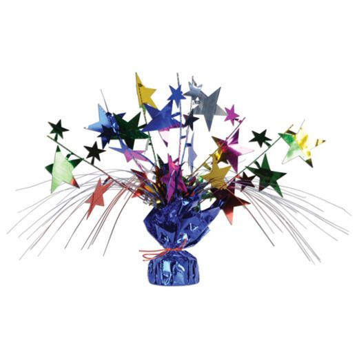 New Years Decorations Multicolor Star Gleam N Spray Centerpiece Image