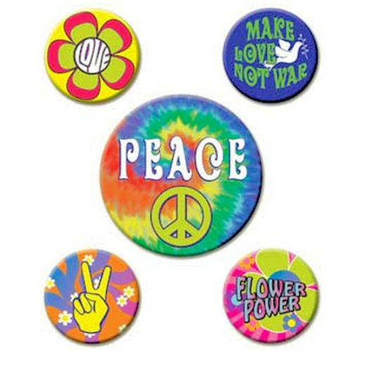 60s & 70s Party Wear 60's Party Buttons Image