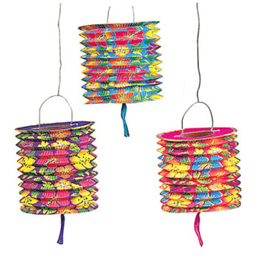 Luau Decorations Hibiscus Print Lanterns Image
