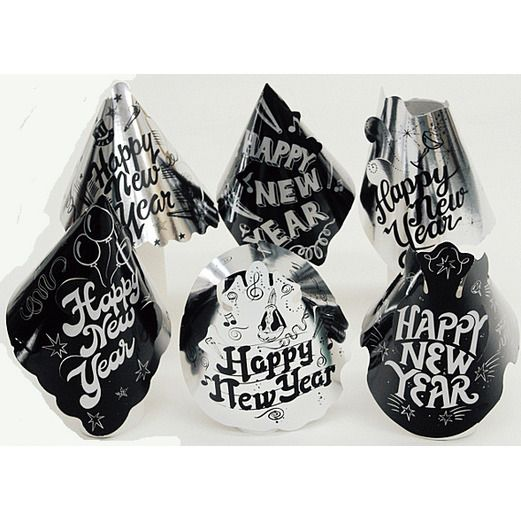 New Years Hats & Headwear Black and Silver New Years Cone Hat Image