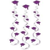 Graduation Decorations Purple Printed Grad Whirls Image
