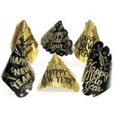 New Years Hats & Headwear Black and Gold New Years Cone Hat Image