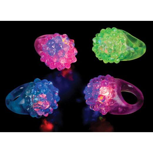 Birthday Party Glow Lights Flashing L.E.D. Bumpy Ring Image
