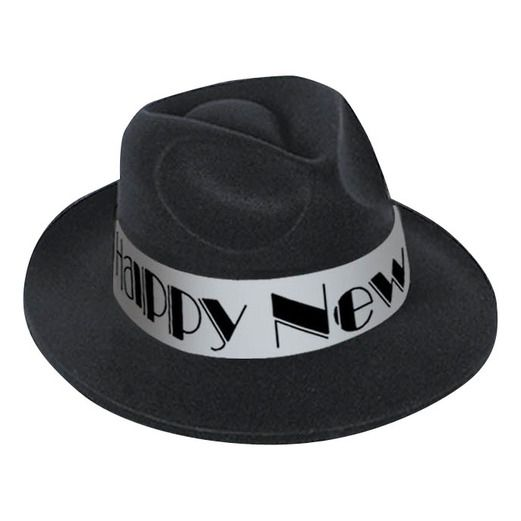 New Years Hats & Headwear Happy New Year Velour Fedora Image