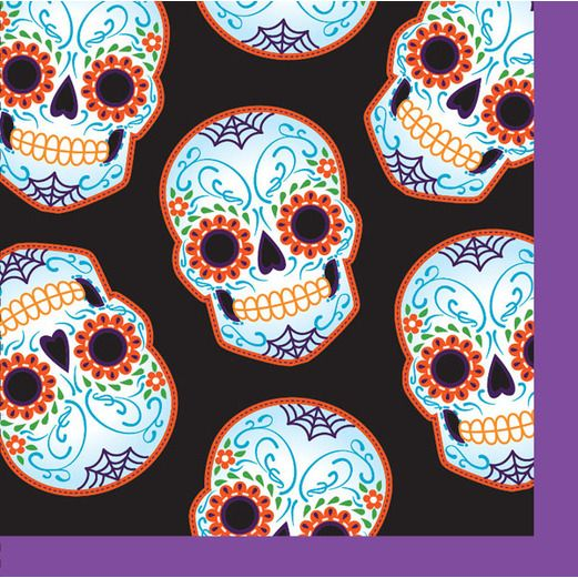 Day of the Dead Table Accessories DOD Web Beverage Napkins Image