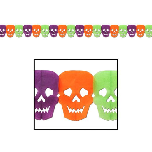 Halloween Decorations Neon Skull Garland Image