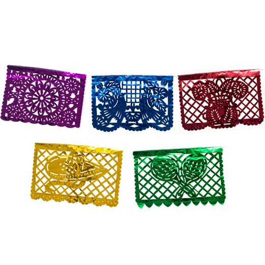 Cinco de Mayo Decorations Medium Multicolor Metallic Picado Banner Image