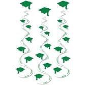 Graduation Decorations Green Printed Grad Cap Whirls Image