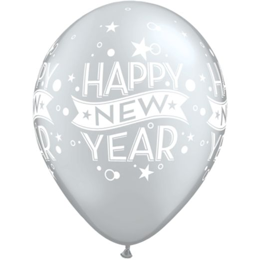 Silver Happy New Year Stars and Swirls Balloons