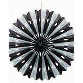 New Years Decorations Black and Silver Tissue Fan Image