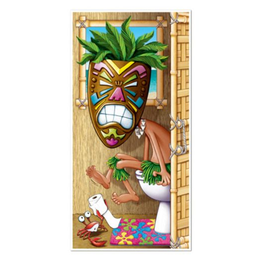Luau Decorations Tiki Man Restroom Door Cover Image