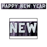 New Years Decorations Black Metallic Happy New Year Banner Image