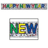 New Years Decorations Metallic Happy New Year Fringe Banner Image
