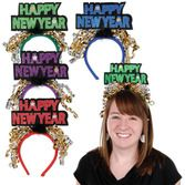 New Years Hats & Headwear Glittered Happy New Year Headband Image