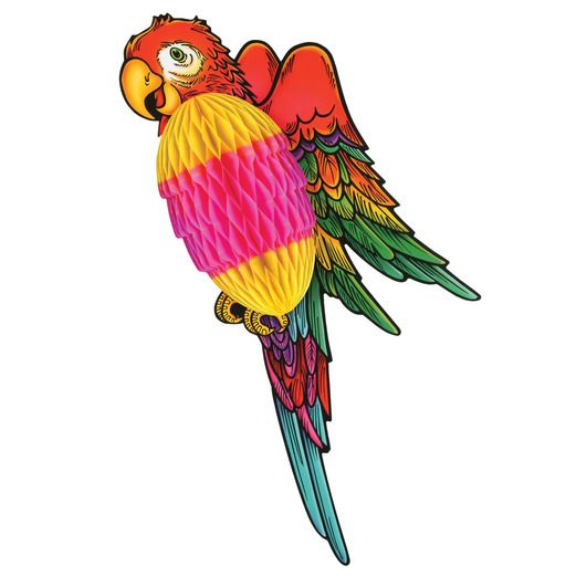 "Luau Decorations 17"" Tissue Parrot Image"