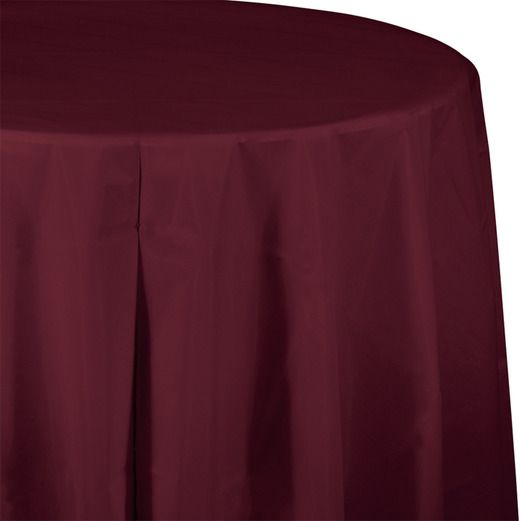 Valentine's Day Table Accessories Round Table Cover Burgundy Image