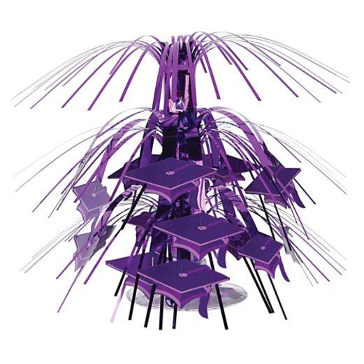 Graduation Decorations Purple Mini Graduation Cap Centerpiece Image