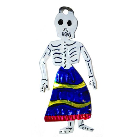 Day of the Dead Decorations Skeleton in Blue Skirt Tin Ornament Image