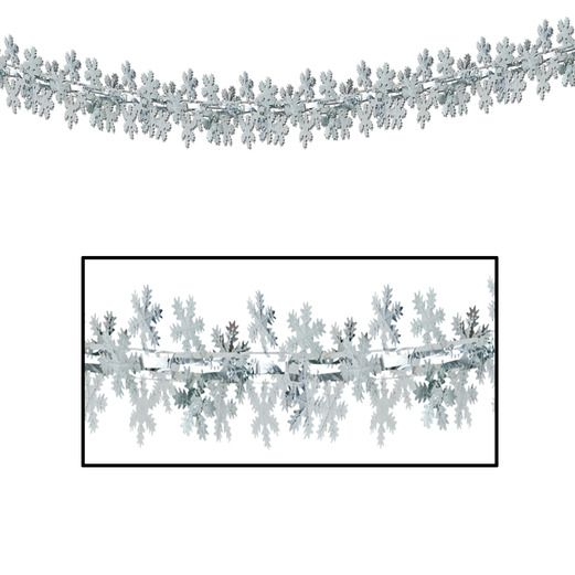 Christmas Decorations Metallic Snowflake Garland Image