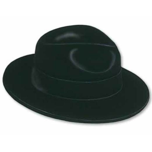 New Years Hats & Headwear Black Velour Fedora Image