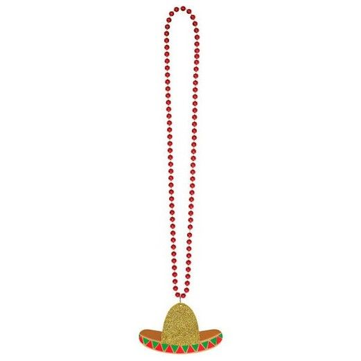 Fiesta Party Wear Glittered Sombrero Necklace Image