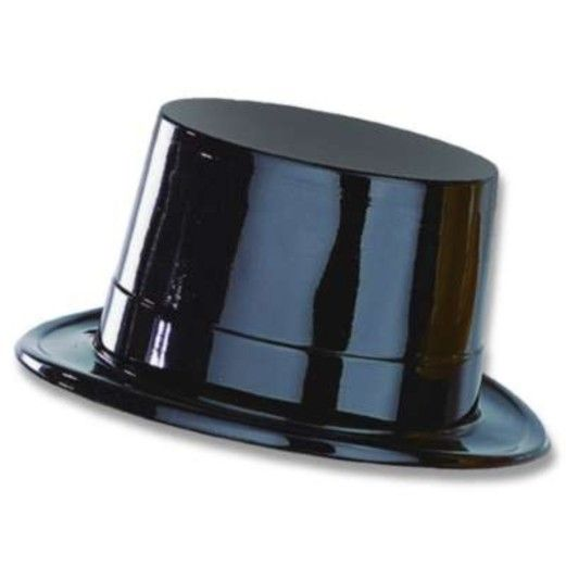 New Years Hats & Headwear Black Plastic Top Hat Image