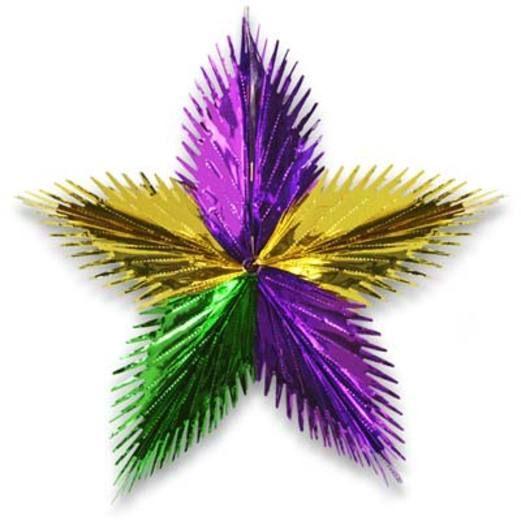 "Mardi Gras Decorations 16"" Green-Gold-Purple Leaf Starburst Image"