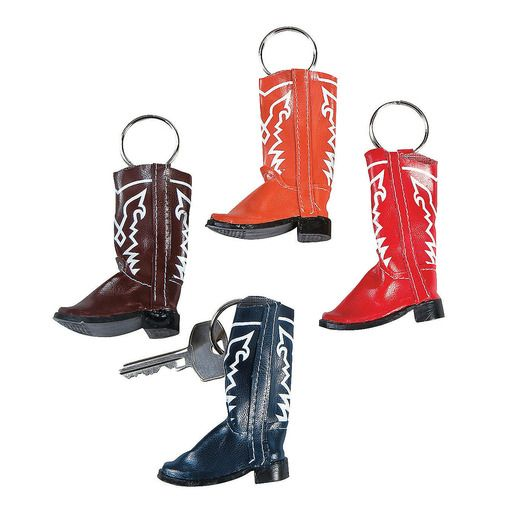 Western Favors & Prizes Vinyl Cowboy Boot Key Chains Image