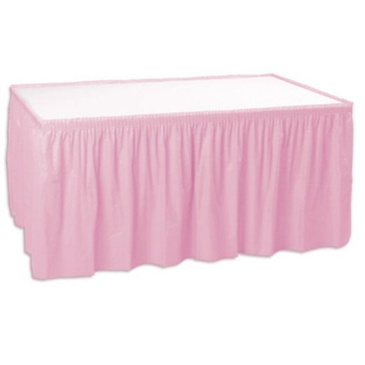 Baby Shower Table Accessories Pink Table Skirt Image
