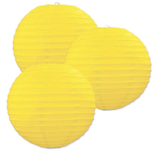 Luau Decorations Yellow Paper Lanterns Image