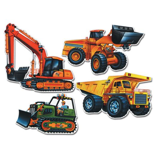 Birthday Party Decorations Construction Truck Cutouts Image