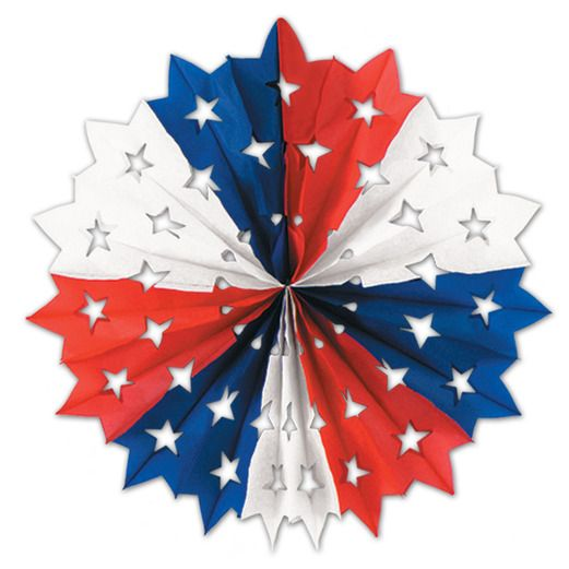 4th of July Decorations Red, White, and Blue Star Fan Image