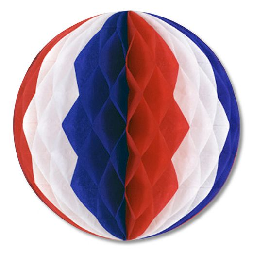 "4th of July Decorations 12"" Red-White-Blue Tissue Ball Image"