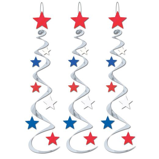 4th of July Decorations Red-Silver-Blue Star Whirls Image