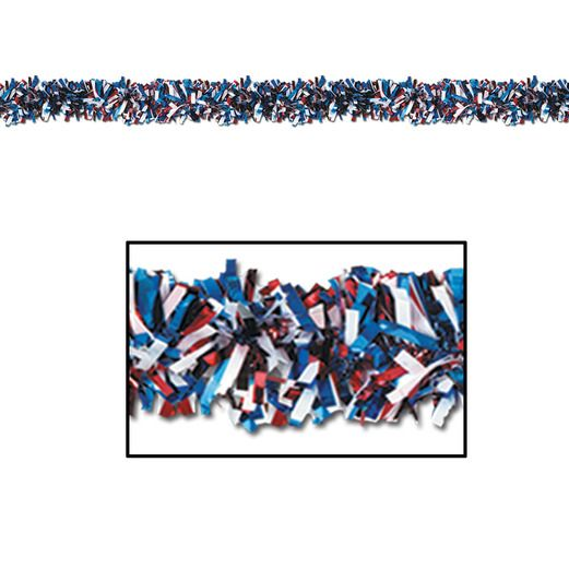 4th of July Decorations Red-White-Blue Metallic Festooning Garland Image