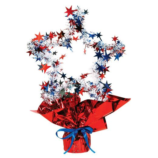 4th of July Decorations RWB Star Shape Centerpiece Image