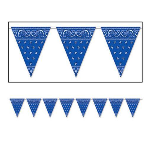 Western Decorations Blue Bandana Pennant Banner Image