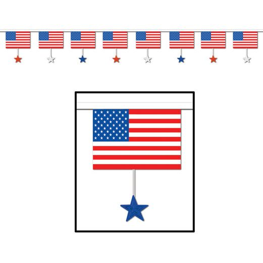 4th of July Decorations Flags and Stars Banner Image