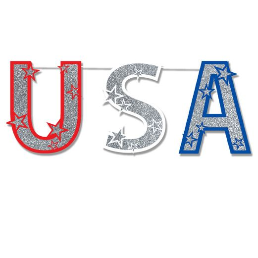 4th of July Decorations Glittered USA Streamer Image