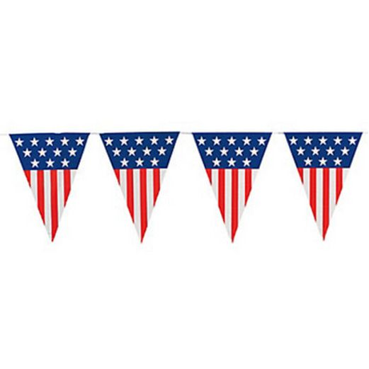 4th of July Decorations Plastic Patriotic Pennant Banner Image