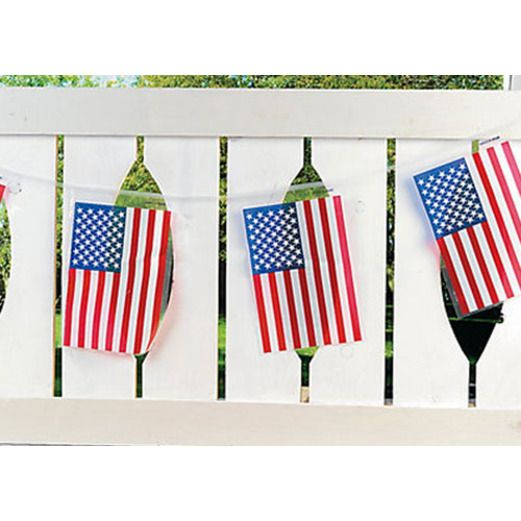 4th of July Decorations Plastic American Flags Banner Image